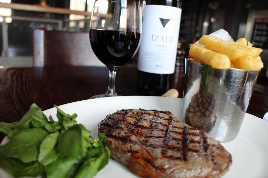 Sirloin steak, chips, sauce & a glass of Malbec £20 per person